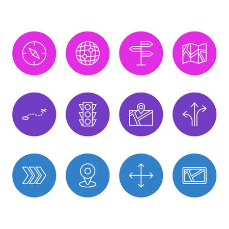 Icons for direction guide. Illustration