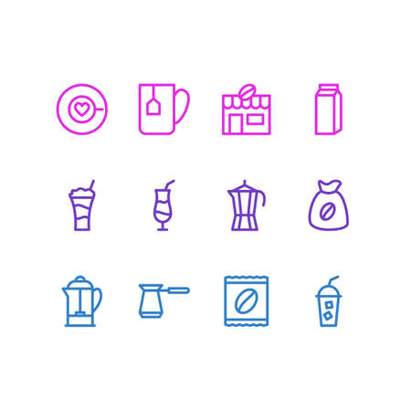 Set of different drinks icon.