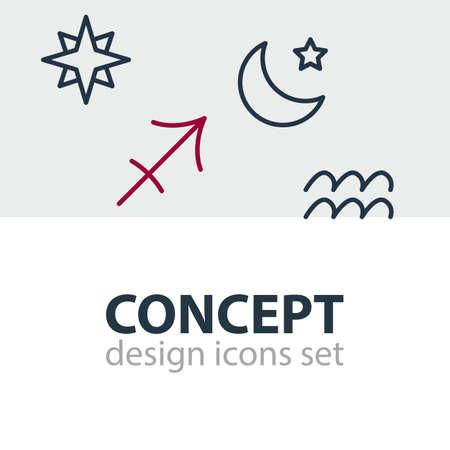 Set of galaxy icons. Illustration