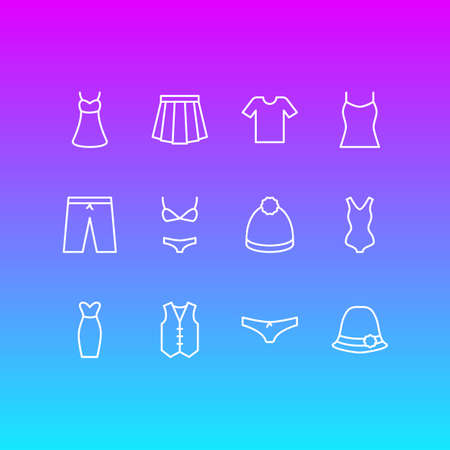 Vector Illustration of 12 Clothes Icons.