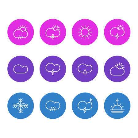 Vector Illustration Of 12 Sky Icons. Editable Pack Of Windstorm, Fulminant, Weather And Other Elements. Illustration