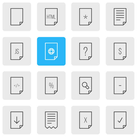 Vector Illustration Of 16 Page Icons. Editable Pack Of Munus, Internet, Search And Other Elements. Çizim