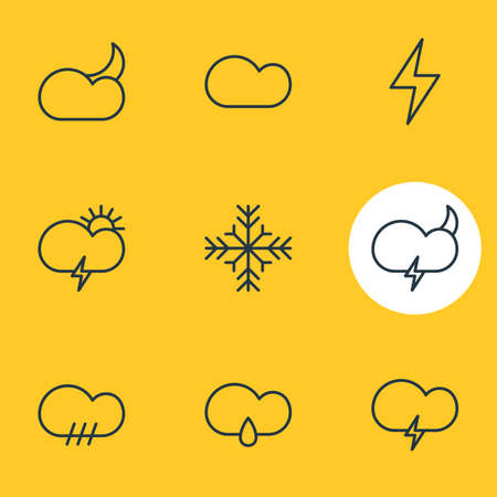 Vector Illustration Of 9 Atmosphere Icons. Editable Pack Of Snow, Fulminant, Cloudy And Other Elements.
