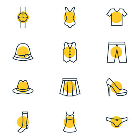 Vector Illustration Of 12 Clothes Icons. Editable Pack Of Apparel, Hand Clock, Panties Elements.