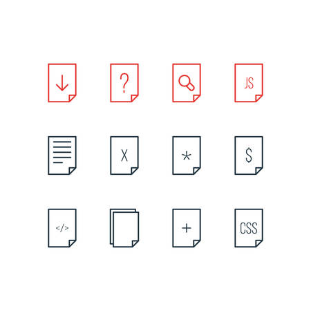 Vector Illustration Of 12 Document Icons. Editable Pack Of Basic, Dollar, Document And Other Elements.