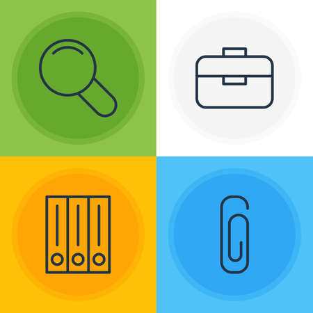 Vector Illustration Of 4 Stationery Icons. Editable Pack Of Portfolio, Paperclip, Zoom And Other Elements. Stock Photo
