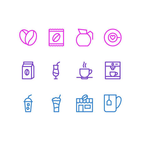 Vector Illustration Of 12 Coffee Icons. Editable Pack Of Saucer, Package Latte, Mug And Other Elements.