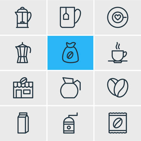 Vector Illustration Of 12 Java Icons. Editable Pack Of Cup, Saucer, Coffeemaker And Other Elements.