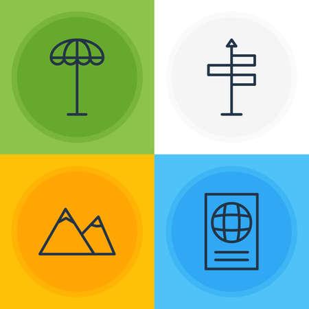 Illustration of 4 summer icons. Illustration