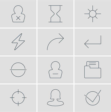 Vector Illustration Of 12 UI Icons. Editable Pack Of Share, Bolt, Sunshine And Other Elements. 向量圖像