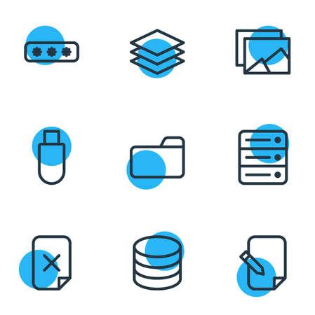 Illustrazione vettoriale di 9 icone di contorno di archivio. Pack di Datacenter, accordo, livello e altri elementi modificabili. Archivio Fotografico - 89581873