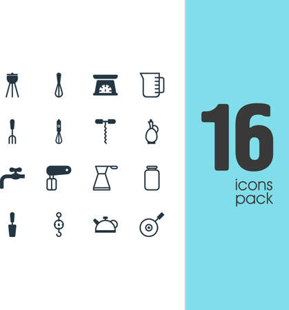 Vector Illustration Of 16 Cooking Icons. Editable Pack Of Handmixer, Can, Carafe Elements.