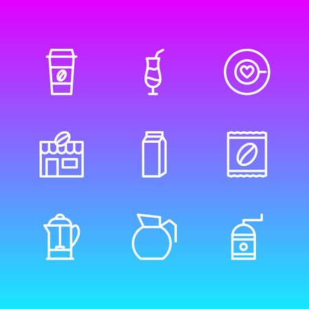 Vector Illustration Of 9 Coffee Outline Icons. Editable Pack Of Mocha, House, Drink Pot And Other Elements. Ilustração