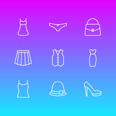 Vector Illustration Of 9 Dress Outline Icons. Editable Pack Of Sandal, Apparel, Panties Elements.