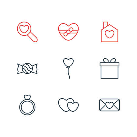 Vector Illustration Of 9 Love Outline Icons. Editable Pack Of Present, Hearts, Gift And Other Elements.