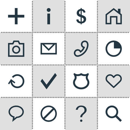 Vector Illustration Of 16 User Icons. Editable Pack Of Stopwatch, Access Denied, Talk Bubble And Other Elements. Illustration