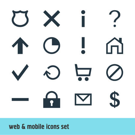 Vector Illustration Of 16 Interface Icons. Editable Pack Of Wheelbarrow, Access Denied, Renovate And Other Elements. 向量圖像