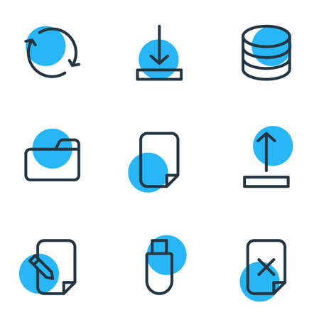 Vector illustration of 9 memory outline icons. Editable pack of file, synchronize, data center and other elements. Illustration