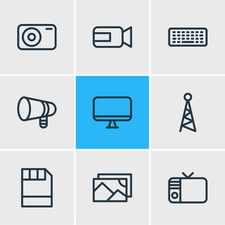 Vector Illustration Of 9 Media Outline Icons. Editable Pack Of Diskette, Screen, Photo Apparatus And Other Elements.