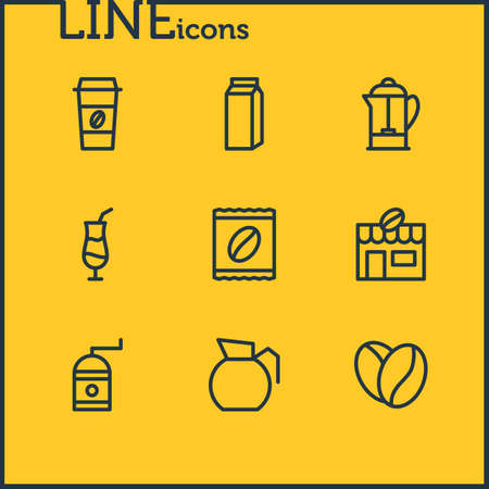 Vector Illustration Of 9 Java Outline Icons. Editable Pack Of House, Drink Pot, Package Latte And Other Elements.