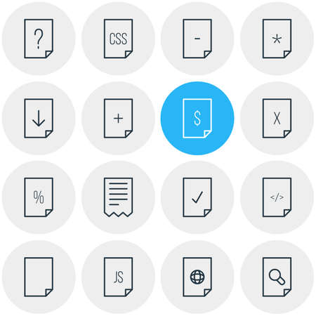 Vector Illustration Of 16 Page Outline Icons. Editable Set Of Basic, Folder, HTML And Other Elements.
