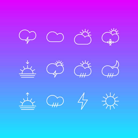 Vector Illustration Of 12 Weather Outline Icons. Editable Set Of Sunny, Windstorm, Lightning And Other Elements. Vectores