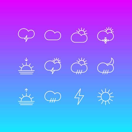 Vector Illustration Of 12 Weather Outline Icons. Editable Set Of Sunny, Windstorm, Lightning And Other Elements. Ilustração