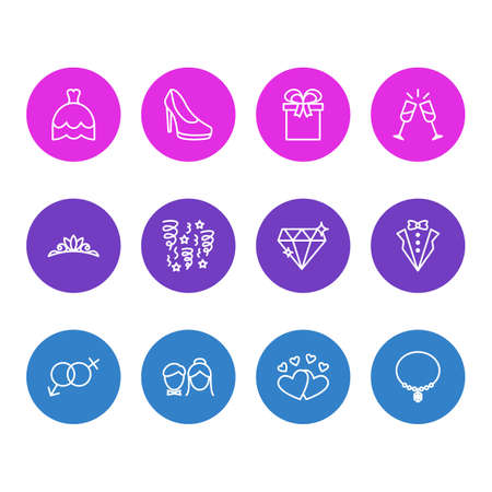 Vector Illustration Of 12 Engagement Outline Icons. Editable Set Of Decoration, Bridegroom Dress, Love And Other Elements. Illustration