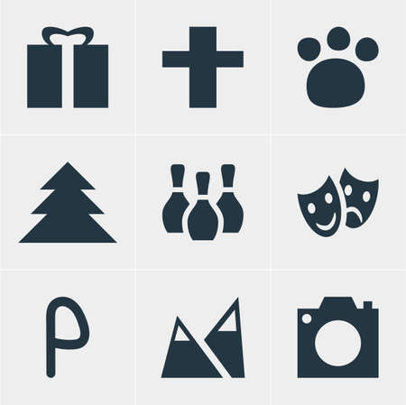 Vector Illustration Of 9 Check-In Icons. Editable Set Of Skittles, Car Park, Jungle And Other Elements. Illustration