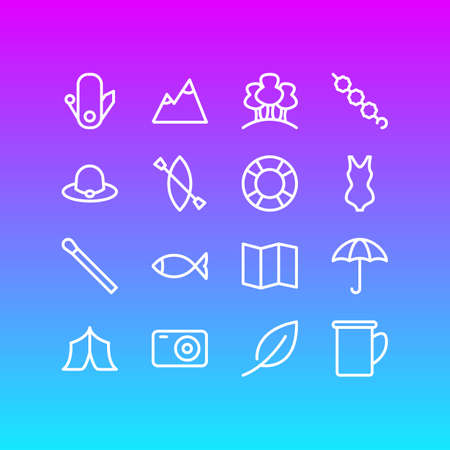 Vector Illustration Of 16 Camp Outline Icons. Editable Set Of Cup, Lifesaver, Leaves And Other Elements.