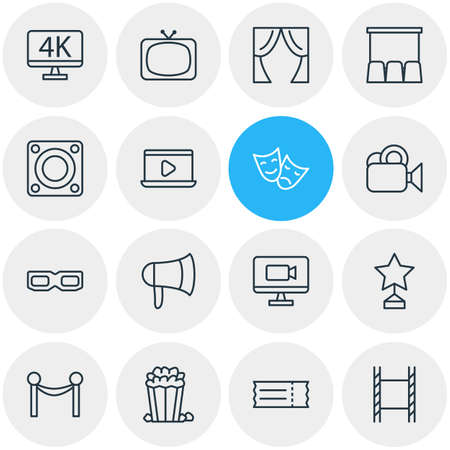 Vector Illustration Of 16 Movie Outline Icons. Editable Set Of Loudspeaker, Spectacles, Television And Other Elements.