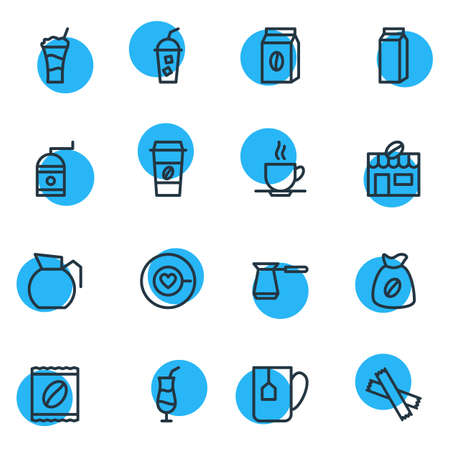 Vector Illustration Of 16 Drink Outline Icons. Editable Set Of Sweetener, Saucer, Turkish And Other Elements. Illustration