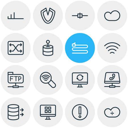 Ilustración vectorial de 16 iconos de esquema de red. Conjunto editable de almacenamiento en la nube, transferencia, cliente OS y otros elementos.