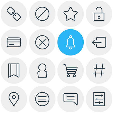 Vector Illustration Of 16 App Outline Icons. Editable Set Of Ring, List, Padlock And Other Elements. Illustration