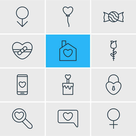 Vector Illustration Of 12 Passion Outline Icons. Editable Set Of Lock , Candle , Smartphone Elements.