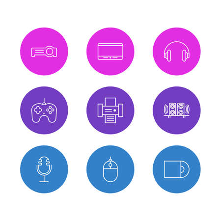 Vector Illustration Of 9 Hardware Outline Icons. Editable Set Of Photocopier, Dvd Drive, Joypad And Other Elements.