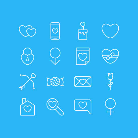 Vector Illustration Of 16 Passion Outline Icons. Editable Set Of Cupid, Hearts, Smartphone And Other Elements.