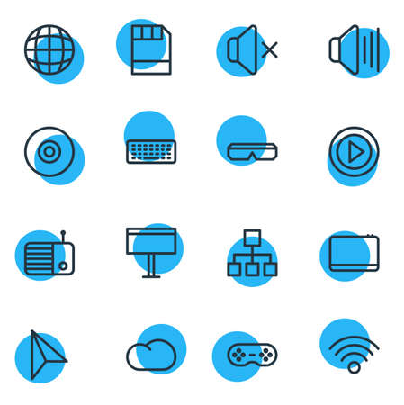 Vector Illustration Of 16 Media Outline Icons. Editable Set Of Movie, Silence, Worldwide And Other Elements.
