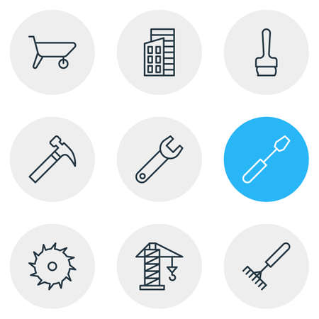 Vector Illustration Of 9 Construction Outline Icons. Editable Set Of Lifting, Handle Hit, Turn Screw Elements.