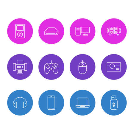 Vector Illustration Of 12 Gadget Outline Icons. Editable Set Of Memory Storage, Cursor Controller.