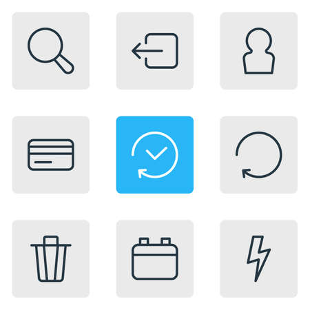 Vector Illustration Of 9 Application Outline Icons. Editable Set Of Flash, Garbage Container, Date And Other Elements.