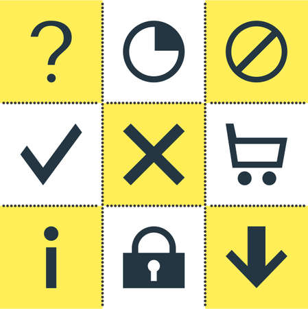 Vector Illustration Of 9 User Icons. Editable Set Of Access Denied, Downward, Wheelbarrow And Other Elements.