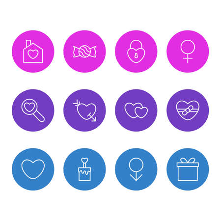 Vector Illustration Of 12 Love Outline Icons. Editable Set Of Woman, Soul, Arrow And Other Elements. Illustration