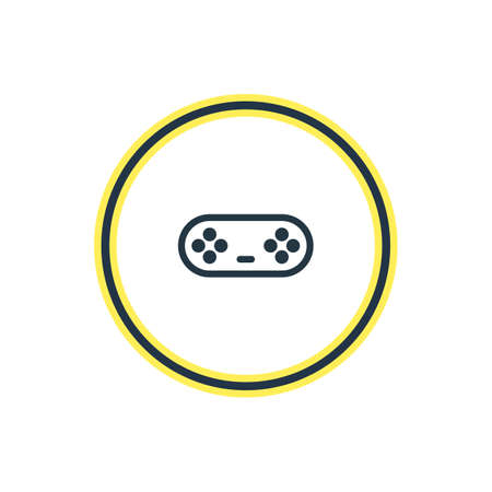 Vector Illustration Of Game Controller Outline. Beautiful Leisure Element Also Can Be Used As Joystick Element.