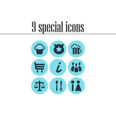 Vector Illustration Of 9 Check-In Icons. Editable Set Of Map Information, Cop, Scales And Other Elements. Illustration