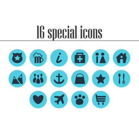 Vector Illustration Of 16 Map Icons. Editable Set Of Pet Shop, Drugstore, Map Information And Other Elements.