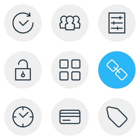 Vector Illustration Of 9 App Outline Icons. Editable Set Of Time, Padlock, Group And Other Elements.
