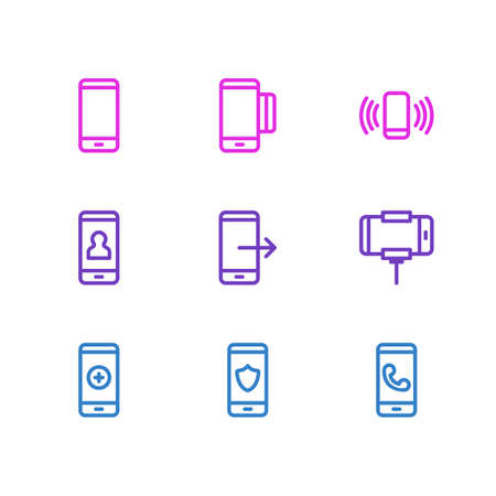 Vector Illustration Of 9 Phone Outline Icons. Editable Set Of Plus, Payment, Arrow Up And Other Elements. Illustration