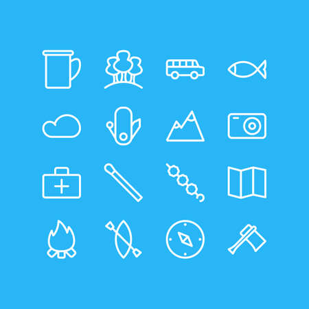 Vector Illustration Of 16 Tourism Outline Icons. Editable Set Of Tree, Overcast, Hatchet And Other Elements.