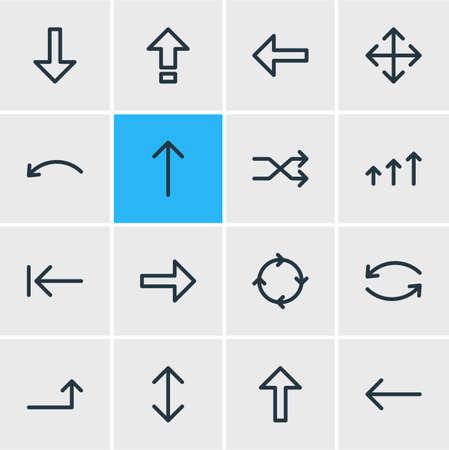 Vector Illustration Of 16 Direction Outline Icons. Editable Set Of Randomize, Undo, Up Elements. Illustration